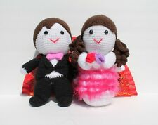 Handmade knitted stuffed boy girl couple wedding newlywed black pink groom bride