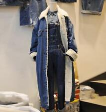 Lady's Winter Korean Fur Lining Thicken Loose Denim Mid Long Jacket Jeans Coats@