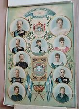 Antique Greek Greece Royal Family Lithograph King GEORGE A 1800s-1900s Poster