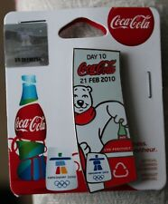 Day 10 Bottle set 21 feb  AUTHENTIC Coca cola  Vancouver 2010  Olympic PIN NEW
