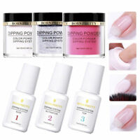 5Pcs Nail Art Dip Dipping Glitter Powder System Liquid Top Base Coat No Lamp Kit