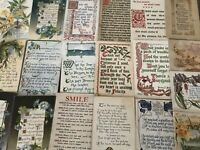 Lot of 20 Antique Greetings Postcards with Poems~Words~Sentiments---a926