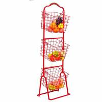 3-Tier Wire Market Basket Household Items, Display Rack Serving Stand Baskets
