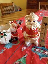 Vntg  50's Spaghetti Trim Christmas Santa Claus Bank Bell/Bag + Waving Santa