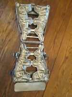 antique hinged metal Easter bunny rabbits chocolate candy mold kitchen tool