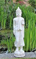 Garden Buddha Ornament Tall Standing Thai Ceramic Outdoor Indoor Statue  Cream