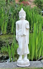 Tall Standing Thai Buddha Ceramic Garden Outdoor Indoor Statue Ornament  Cream