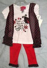 NEW PARK BENCH KIDS OUTFIT INFANT GIRLS 12 M....polka dots and love