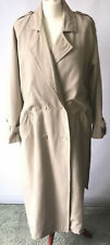Ladies Linen Mix Beige Mac Trench Coat Belted Neutral Double Breast Size 14