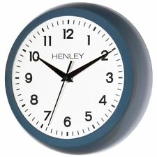 Henley Quiet Ticking Sweep Movement Blue Kitchen Living Room Retro Wall Clock