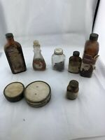 Vintage antique glass medicine bottles And Snuff Cans