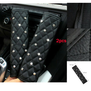 2Pcs Black Make Car lovely Diamond Leather Auto Seat Belt Cover Shoulder Pads