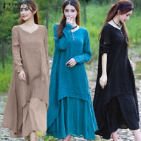Womens Long Sleeve Tiered Casual Party Dresses Plain Long Dress Plus Size Kaftan