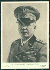 Militari Maresciallo D'Italia Badoglio Foto RETRO BIANCO FG cartolina XF7390
