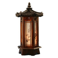 Hexagonal Carved Wood Lantern Brown Art Deco Bedside Bedroom Table Lamp Light