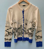 J Crew Sweater RARE Aspen Ski Lodge Cardigan Beige Blue   - No Size Fits Small