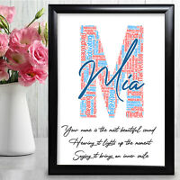 Any Letter Personalised Birthday Gift Word Art For Her Girl Initial Name M Gift