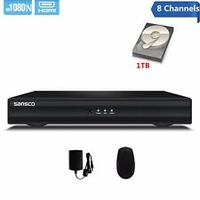 SANSCO 8CH 1080N Output DVR Recorder CCTV Security Surveillance System+1TB HDD
