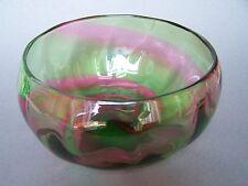 Stevens & Williams Rainbow Green & Pink Glass Bowl