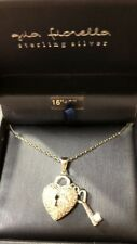 Gia Fiorella Sterling Silver/CZ Heart Pendant Necklace W/key To Heart - NIB