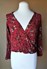 Mossimo Blouse Top Womens Juniors M Red Burgundy Floral Surplice Boho