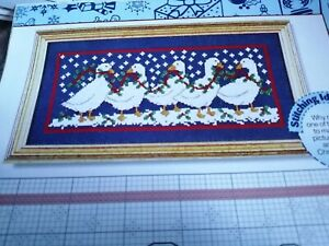CROSS STITCH CHART CHRISTMAS GEESE GOOSE BIRDS  IN A LINE SAMPLER CHART