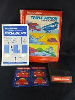 Triple Action INTELLIVISION Complete Game Cartridge original box manual overlays