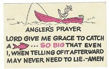 Postcard Comic Angler's Prayer Lord Give Me Grace To Catch A Fish So Big