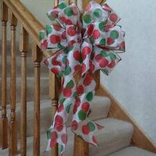 "10"" WIDE CHRISTMAS BOW DECORATION~RED & GREEN POLKA DOTS~CRAFTS~WREATHS~GIFTS"