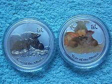 2008- Australia Silver Lunar Mouse Regular and Colorized (Two 1 OZ coins).