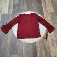 J.Crew Mercantile Women's Maroon Bow Sleeve Top Size 0