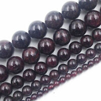 "16"" Strand Natural Round Garnet Charms Spacer Loose Beads Jewelry Finding 4-8MM"