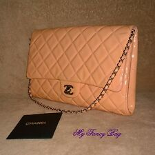 Gorgeous Authentic Chanel Patent Leather Pink Quilted Single Flap Bag