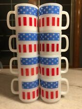 Set 8: Vintage Glasbake Glassbake American Flag Mug/Cup Milk Glass STACKABLE USA