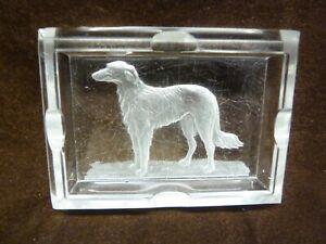 high art deco 1930s ash tray glass borzoi dog well used jazz age cigarettes