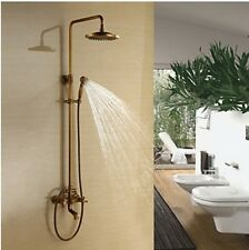 Antique Brass Bathroom Bath Rain Shower Mixer Tap Complete Shower Units