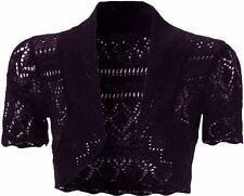 Ladies Knitted Crop Plus Size Crochet Fish Net Bolero Shrugs Tops 8-20