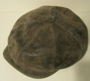 STETSON WEATHERED LEATHER NEWSBOY 8/4 CAP HAT SIZE LARGE BROWN NEW