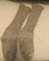Vtg LL Bean Wool Stretch Tall Socks Tan Oatmeal Unisex Med 90s Mens Womens USA