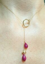 Solid 14k gold toggle lariat Genuine Ruby pear briolette flower pendant necklace