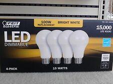 4PK FEIT 100 Watt LED Bulb uses 15W • 1600 Lumens • 3000K • E26 Base • A19 Type