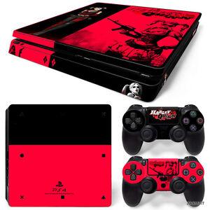 PS4 Slim Playstation 4 Console Skin Decal Sticker Harley Quinn Custom Design Set