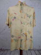 Vtg S-Sleeve Crazy Yellow Party Print Pattern Ugly Fresh Shirt -L- ED01