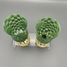 Mackenzie Childs Tall Water Goblet Green Check Circus Set Of 2 Hand Painted Wine