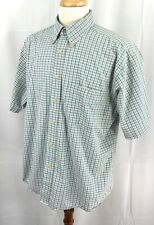 Pendleton Wrinkle Resistant Short Sleeve Button Down Blue Check Shirt Men's XL