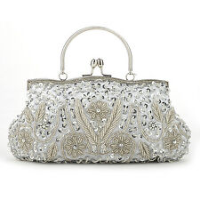 Ladies' Fashion Beaded Flower Clutch, Large Handbag, Evening Bag, Makeup Bag