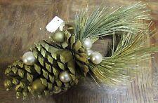 Décoration naturelle  pigne dorée et perle (NO04)