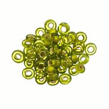 Handmade Transparent Green Glass Donut Ring Beads 7mm Pack of 50 (D105/9)