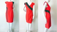 GEORGE GROSS rrp $699.00 Size 8 US 4 Cotton And Silk Red and Black Sheath Dress