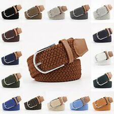 Men's Leather Covered Buckle Woven Elastic Stretch Belt Accessories